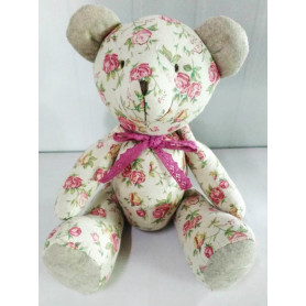 Nounours motif Liberty rose