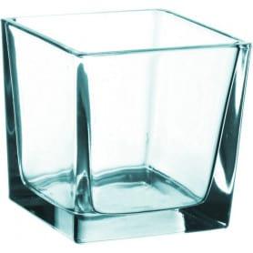 Vase cube en verre transparent L. 8 x l. 8 x H. 8 cm
