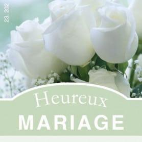 """Étiquette carrée """"Heureux mariage """""""