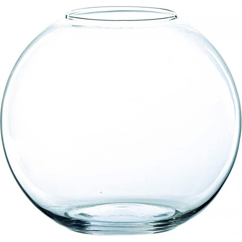 Vase boule transparent en verre D.11 x 8,5 cm