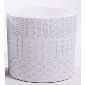 Pot cylindre micro-motifs graphique assortis D. 13,5 x H. 12,5 cm