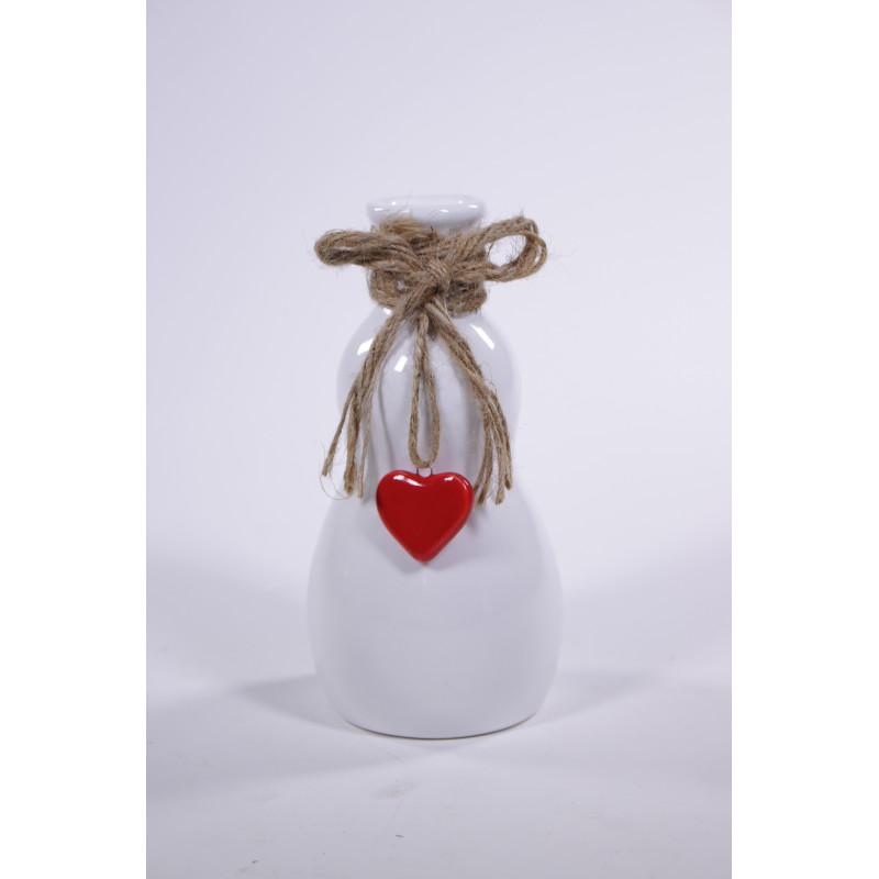 Soliflore céramique avec corde et cœur D. 8,7 x H. 17,4 cm