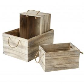 Lot de 3 caisses de bois grisé