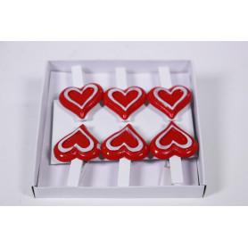 Pinces coeur en bois 4.5cm Boite de 6 pièces
