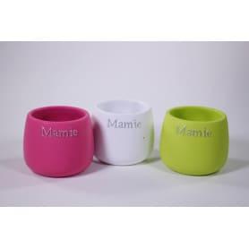 """Pot rond céramique multicolors """"Mamie"""" D. 13 x H. 10,5 cm"""