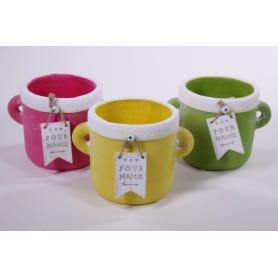 """Pot rond à anses multicolors """"Pour Mamie"""" D. 15,5 x H. 10,5 cm"""