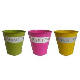 """Pot rond zinc multicolors """"Mamie"""" D. 10 x H. 10 cm"""