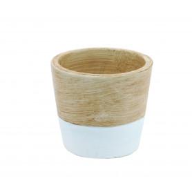 Pot rond céramique bicolore D. 9 cm x H. 8 cm