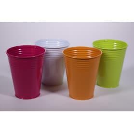 Pots ronds zinc rayures horizontales D. 10 cm x H. 13 cm