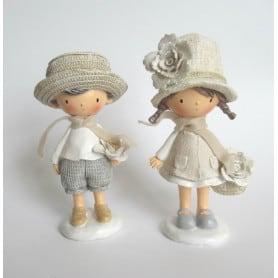 Duo d'enfants avec chapeau résine assortis