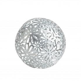 Boule décorative motif feuille argent D. 18,5 cm