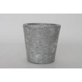 Pot rond argenté D.16,5 x H 15,5 cm