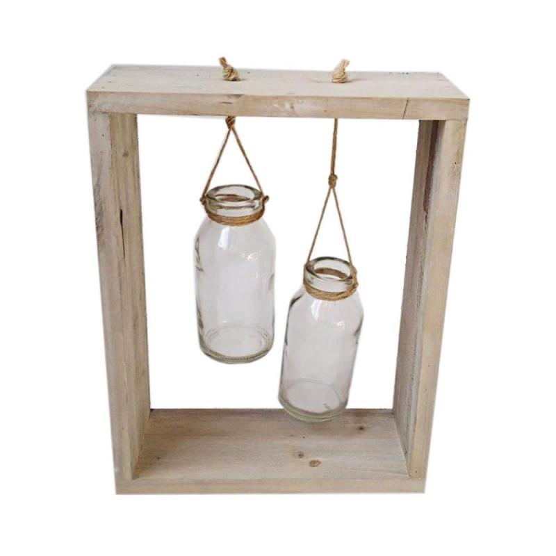 Cadre en bois bouteilles suspendues