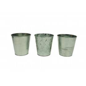 "Pot rond métal spécial ""phaléno"" rebord chrome D. 13 x H. 13 cm"