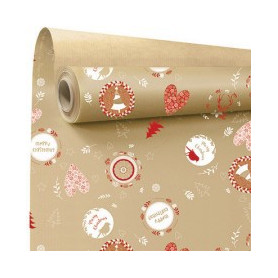 Papier kraft motif noël rouge et naturel