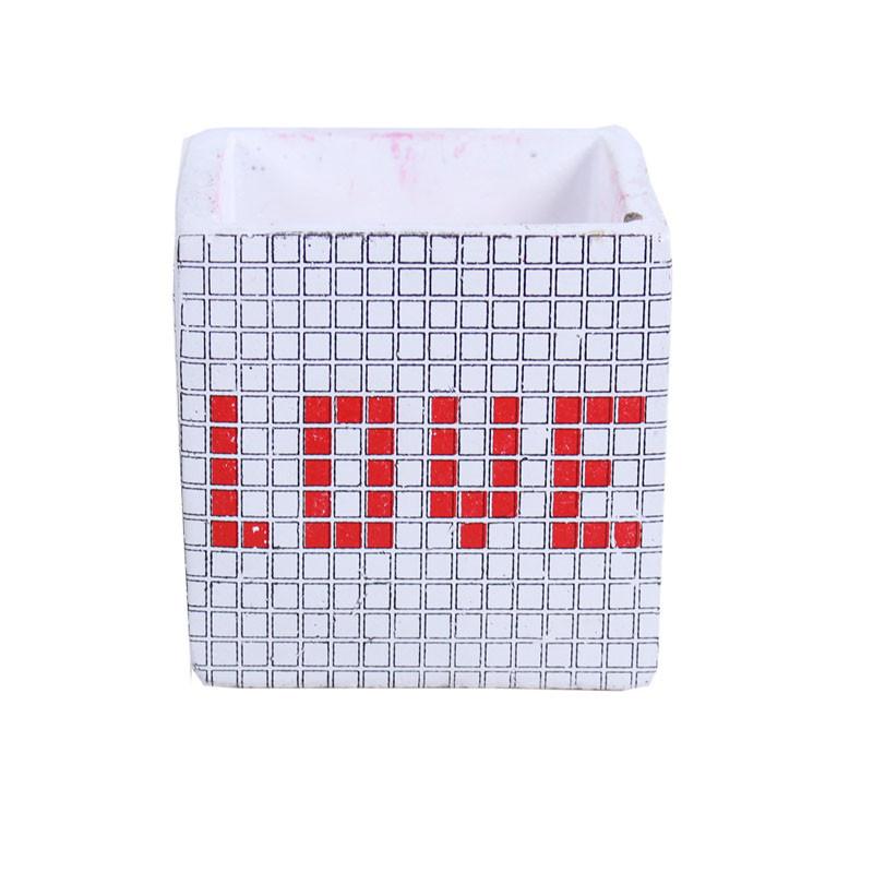 Cache pot cube  LOVE graphique