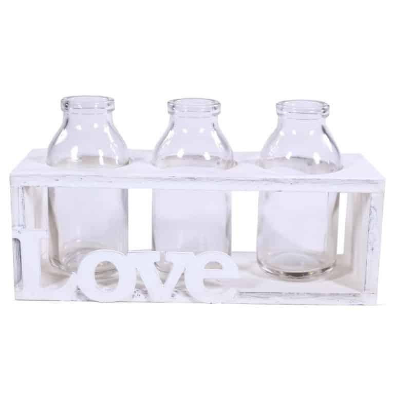 Support bois LOVE et  ses 3 bouteilles