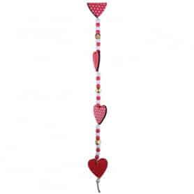 Guirlande de cœurs bois rouge motif vintage