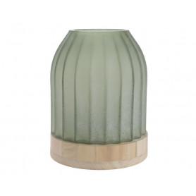 Vase en verre poli et  son support en bois