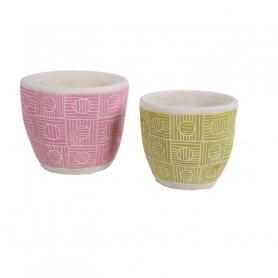 Pot rond motif geometrique washé