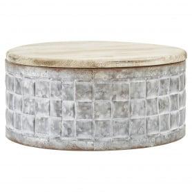 Btes rondes zinc/couvercle bois
