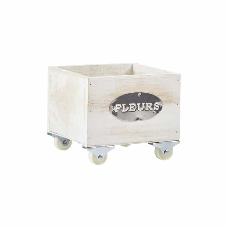 Cube bois Mary sur roulettes - Fournisseur fleuriste