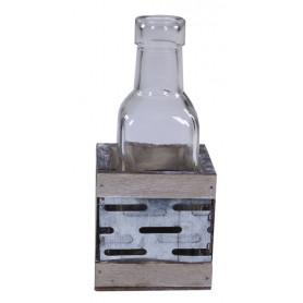Support bouteille métal et bois - Décoration fleuriste