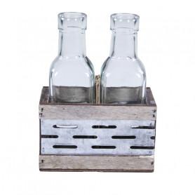 Support 2 bouteilles métal et bois - Accessoires pour fleuriste