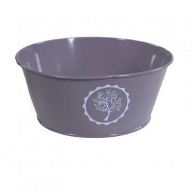 Coupe pour fleurs ronde en zinc motif arbre Indraneel - grossiste fleuriste