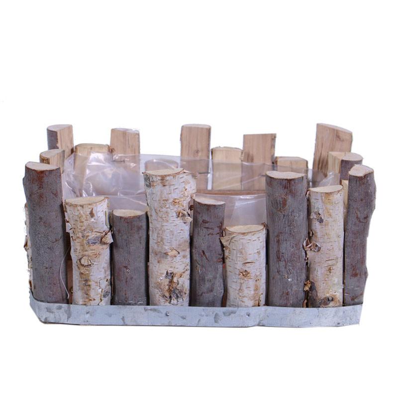 Jardinière rectangulaire en rondin de bois et base métallique Rindo - grossiste fleuriste