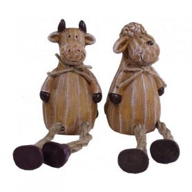 Figurines déco vache et mouton Meuh