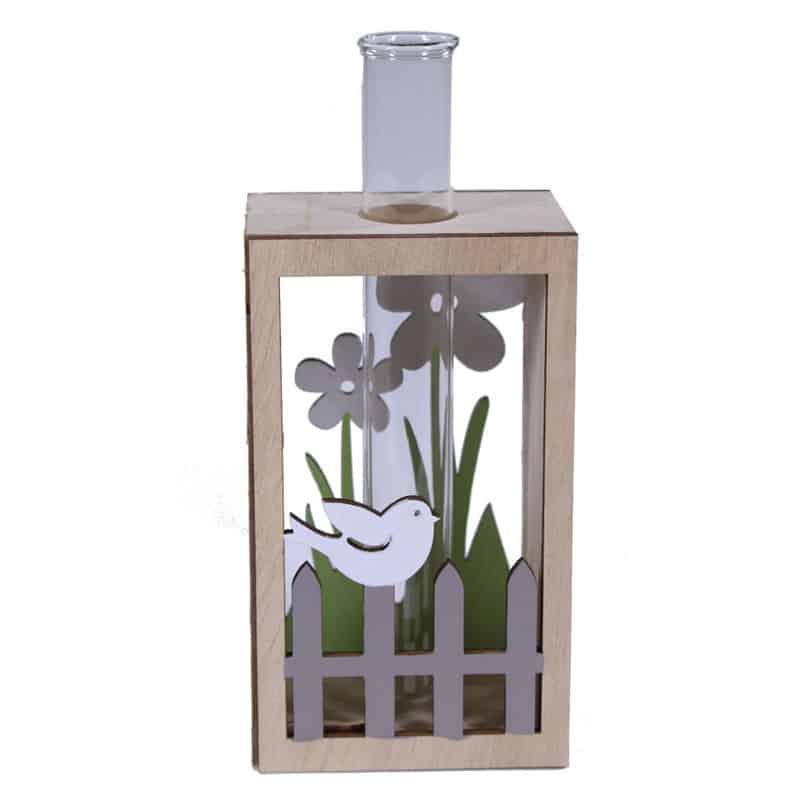 Eprouvette et son socle décor jardin Elin - grossiste fleuriste