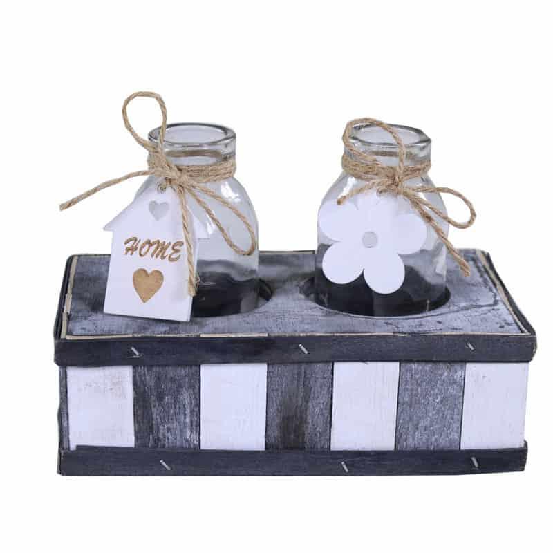 2 bouteilles et leur support en bois Serk - déco fleuriste
