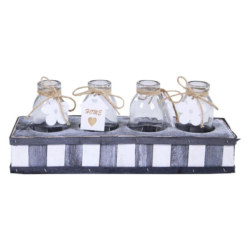 4 bouteilles et leur support en bois Sork - décoration fleuriste