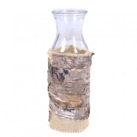 Bouteille en verre décoration écorce et jute Nelma - grossiste fleuriste