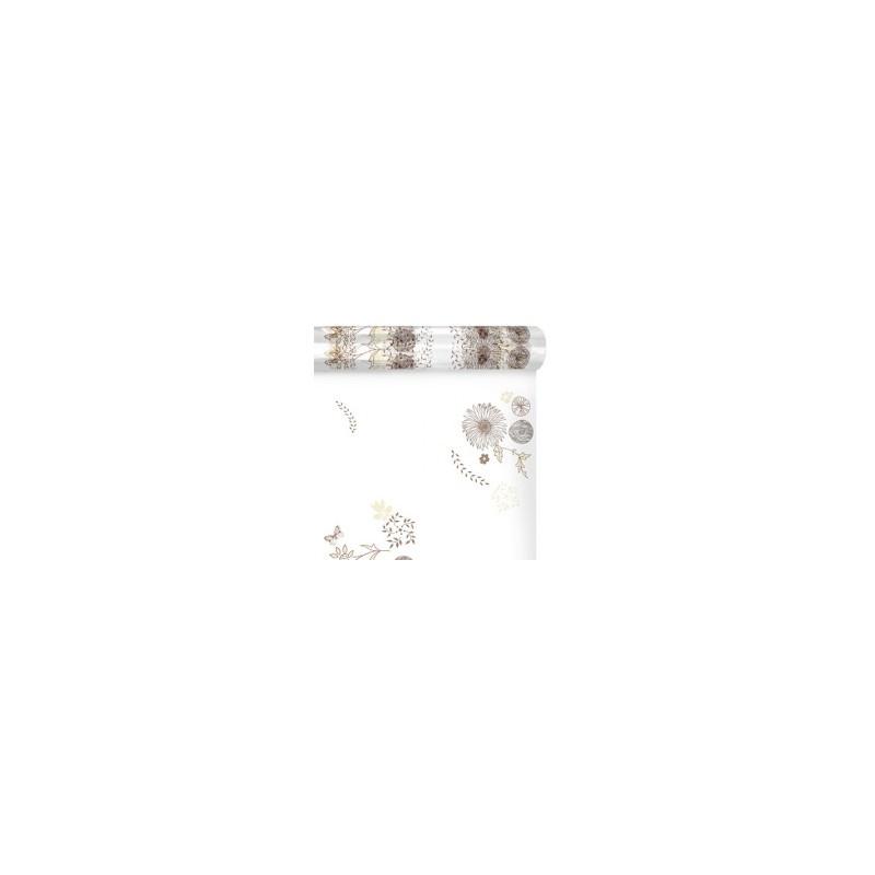 Polypro imprimé motif floral beige