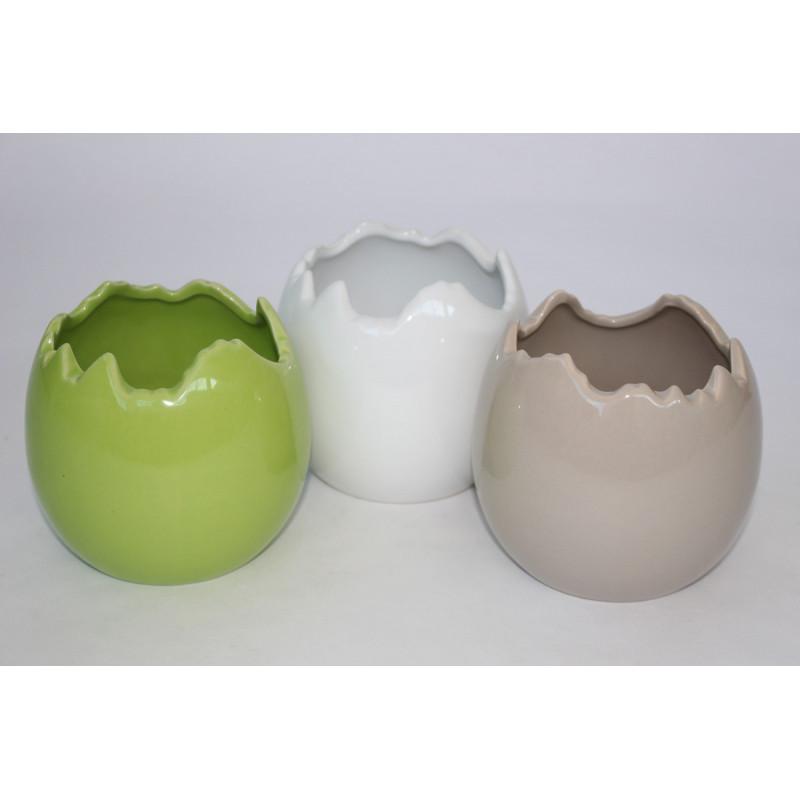 Pot rond oeuf céramique multicoloris D. 8.5 x H. 7.5 cm