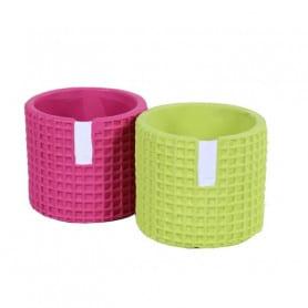 Pot de fleurs cylindrique texturé avec languette Lingu - matériel fleuriste