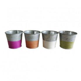 Pot de fleurs rond en zinc bicolore Adelon - grossiste fleuriste
