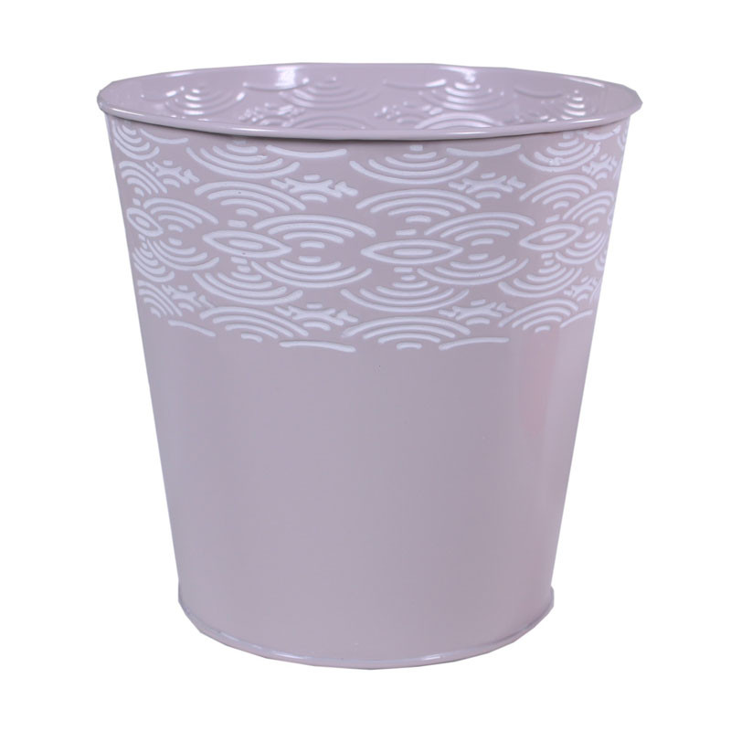 Pot rond en zinc motif courbe Urnila - matériel fleuriste