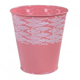 Pot rond en zinc motif courbe Urnila - décoration florale