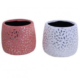 Pot rond en ciment motif argenté feuillage Leafi - grossiste art floral
