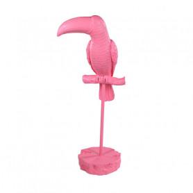 Toucan décoratif rose sur son perchoir Goukan - Objet déco