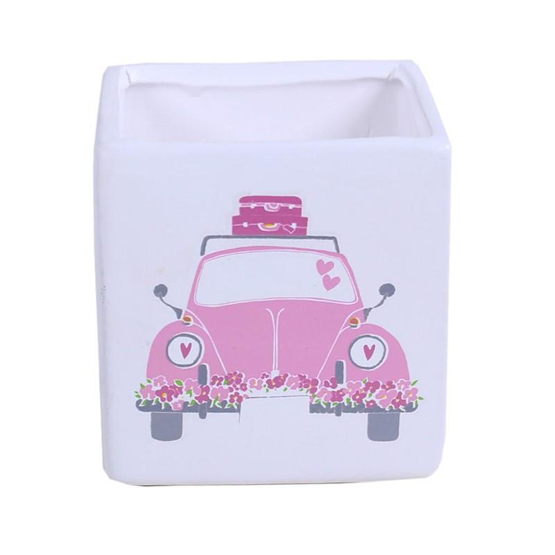Pot de fleurs cube motif voiture Cerdna - matériel fleuriste