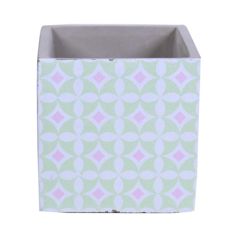 Cube pour fleurs en ciment motif carreau Ster - grossiste décoration