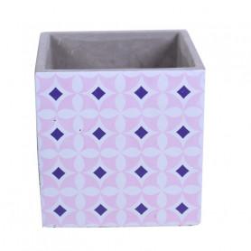 Cube pour fleurs en ciment motif carreau Ster - matériel fleuriste