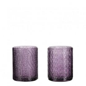 Photophore en verre motif fleurs Folia - fourniture déco