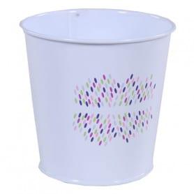 Pot de fleurs rond en zinc motif confettis Festia - grossiste fleuriste