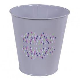 Pot de fleurs rond en zinc motif confettis Festia - matériel fleuriste