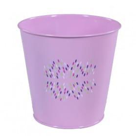 Pot de fleurs rond en zinc motif confettis Festia - équipement fleuriste